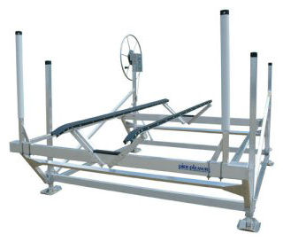 Pier Pleasure Boat Lift with Centering Guides and optional Full-Length V-Bunks installed.
